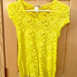 ✓Katie Bright Yellow Lace See Through Top